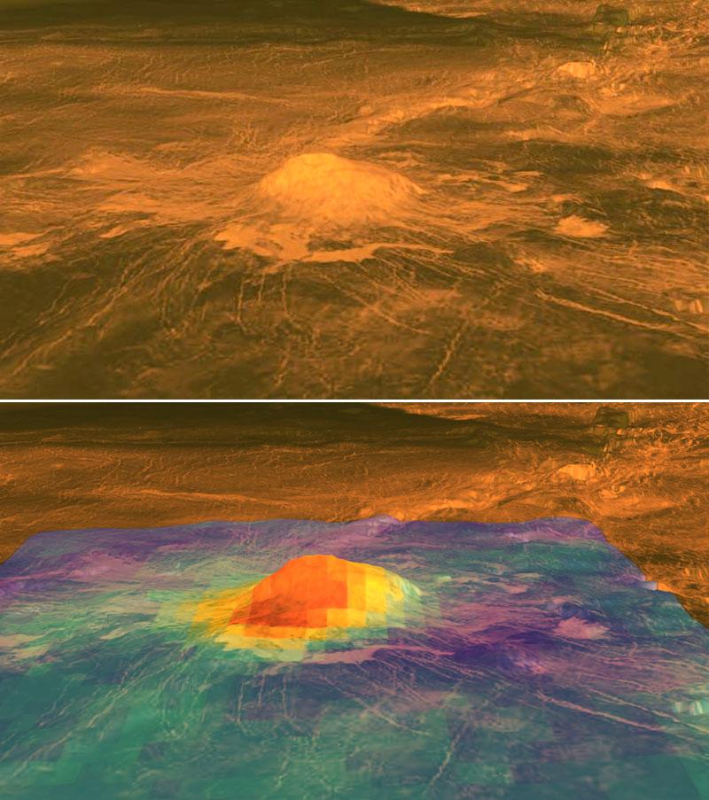 Le volcan Idunn Mons dans la région Imdr, Vénus : vue 3D et vue colorisée selon l'émissivité IR
