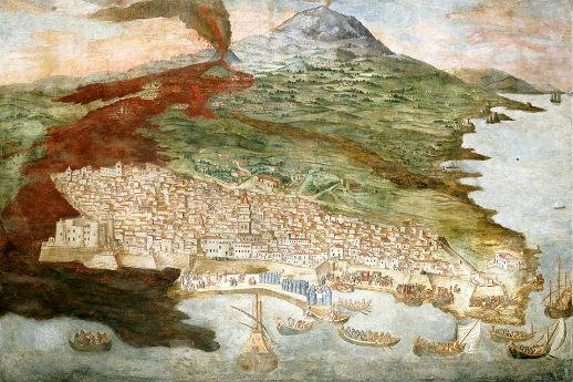 La ville ce Catane (Sicile) partiellement recouverte par une coulée de l'Etna en 1669