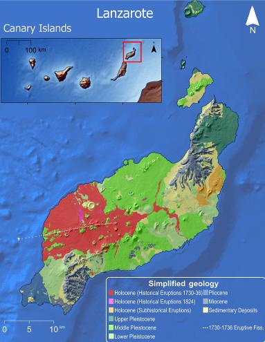Carte géologique simplifiée de l'ile de Lanzarote (Canaries)