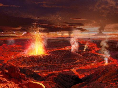 Représentation artistique de ce que pourrait être une province magmatique géante aérienne en pleine phase éruptive