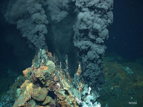 Fumeurs noirs caractéristiques de l'hydrothermalisme sur basalte