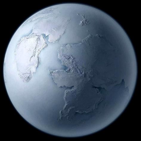 """Représentation artistique de la Terre pendant un épisode """"boule de neige"""" (Snowball Earth, en anglais), la glaciation sturtienne"""