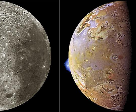 La Lune (à gauche) et de Io (à droite), deux corps silicatés de même taille (≈3500km de diamètre)