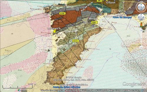 Carte géologique de la pointe de Lostmarc'h, presqu'île de Crozon