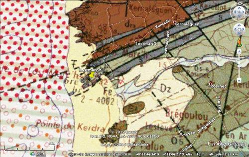 Détail de la carte géologique de la pointe de Lostmarc'h
