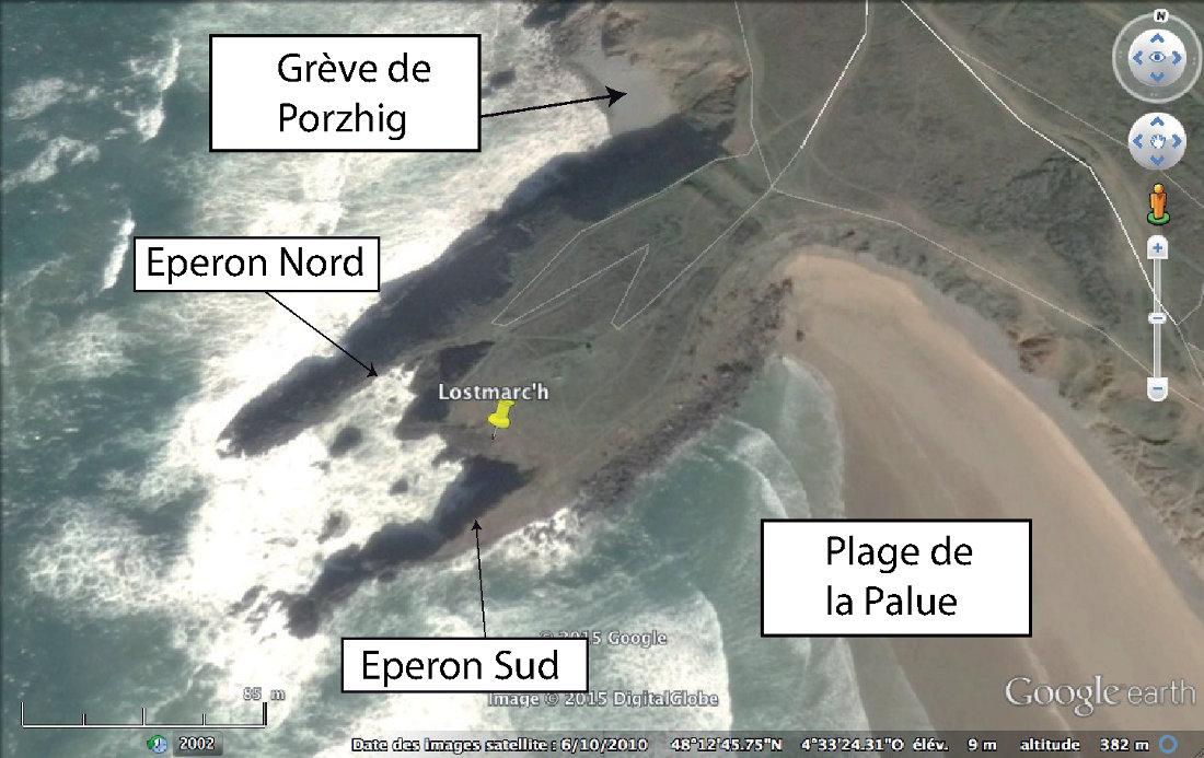 Vue aérienne de la pointe de Lostmarc'h