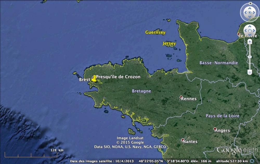 Localisation de la presqu'île de Crozon en Bretagne