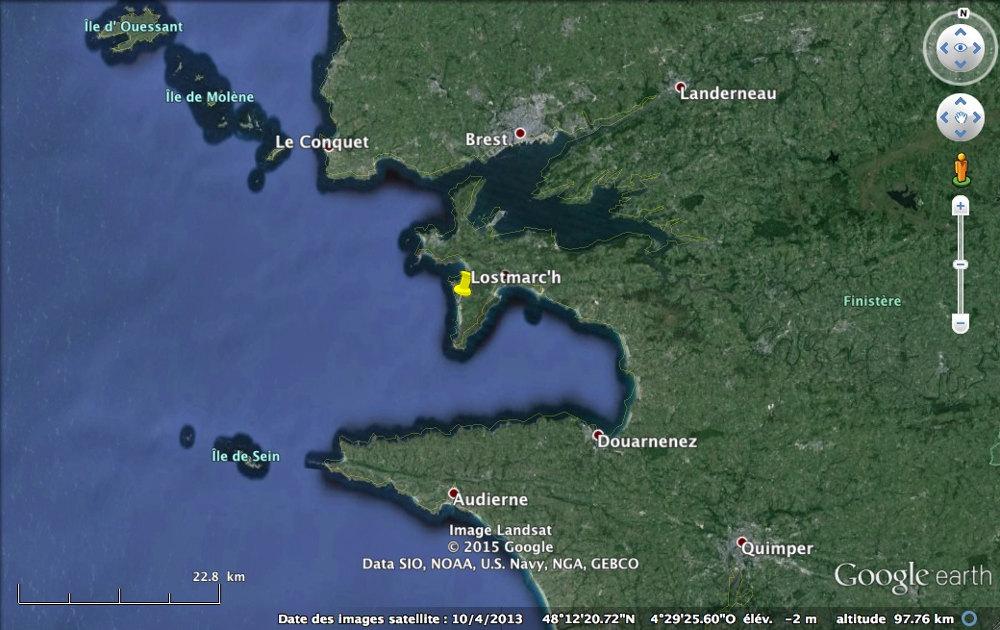 Localisation de la pointe de Lostmarc'h sur la presqu'île de Crozon