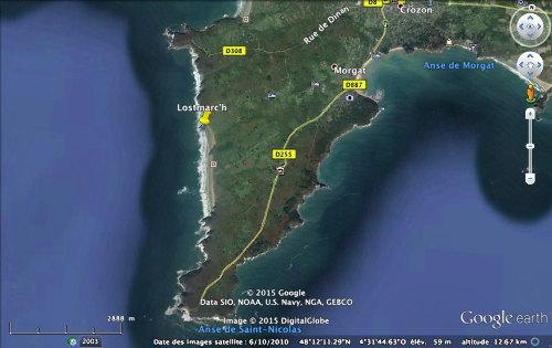 Localisation de la pointe de Lostmarc'h sur la pointe Sud de la presqu'île de Crozon