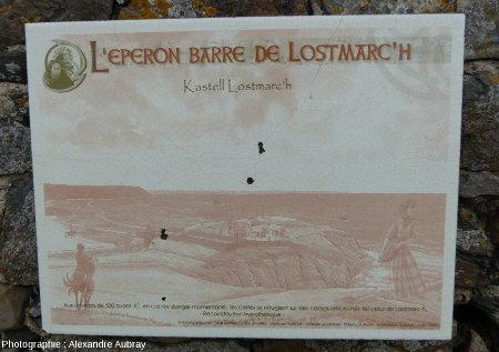 Panneau sur la pointe de Lostmarc'h montrant la reconstitution de l'éperon barré de Lostmarc'h à l'Âge du Fer