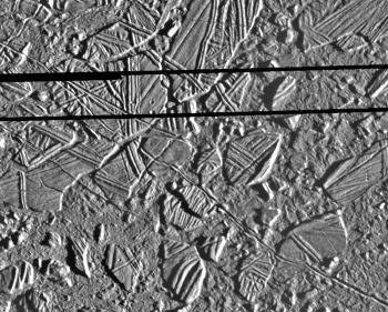 Détail de la surface d'Europe, satellite de Jupiter