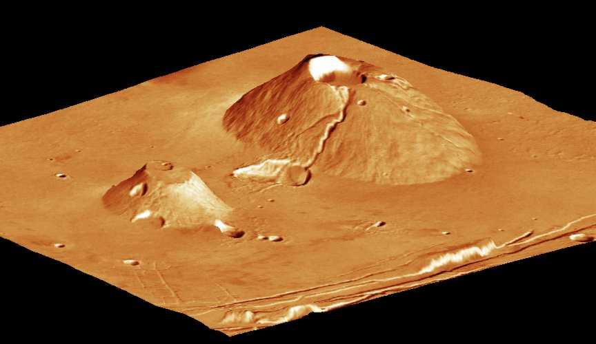 Vue 3D de Ceraunius Tholus (à droite) et Uranius Tholus (à gauche)